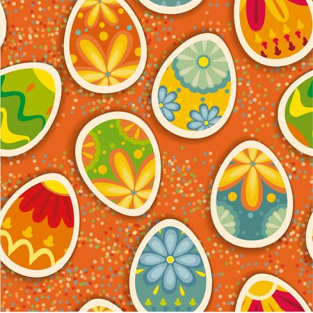 Wonderful ornamental eggs for Easter. Easter card SEAMLESS PATTERN Vector