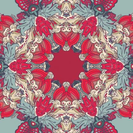 kaleidoscopic rainbow floral round  pattern, mandala Stock Vector - 18516361