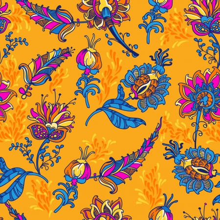 ornamental  floral  seamless background with many details
