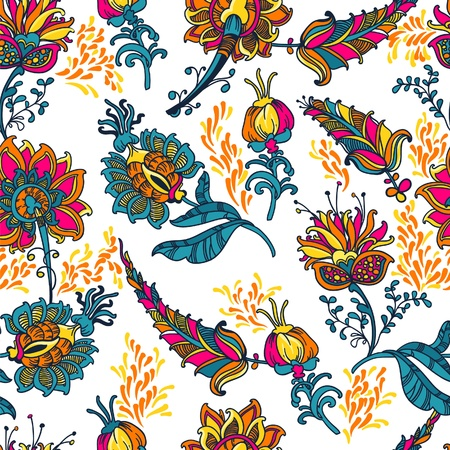 ornamental  floral  vector seamless background with many details