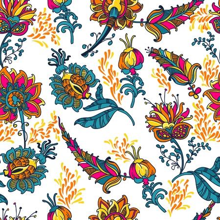 disegni cachemire: ornamentali floreali vettore sfondo senza soluzione di continuit� con molti dettagli Vettoriali