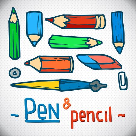 bright colored pencils set  Vector office Illustration  outline  working place  Stock Vector - 18712016