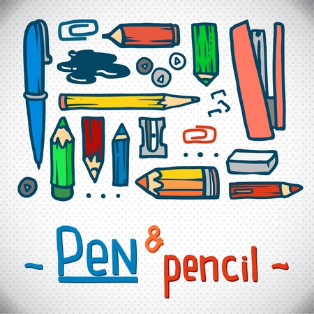 bright colored pencils set  Vector office Illustration  outline  working place  Vector