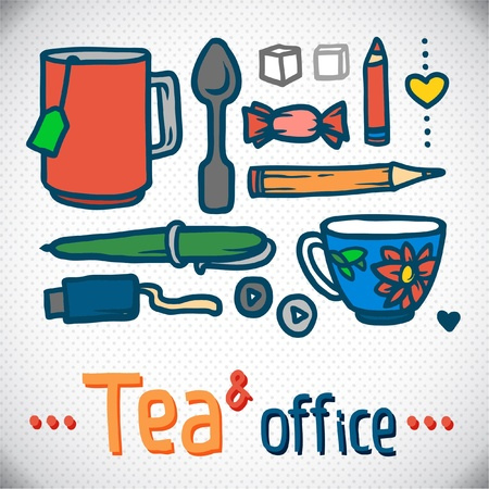 bright colored pencils set  Vector office Illustration  outline  working place and cup of tea Stock Vector - 18712024