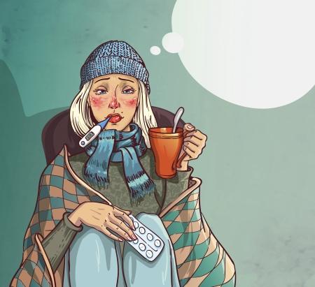 w�rmflasche: M�dchen krank kalt und sitzt auf einem Stuhl und h�lt eine Tasse in den H�nden. Illustration
