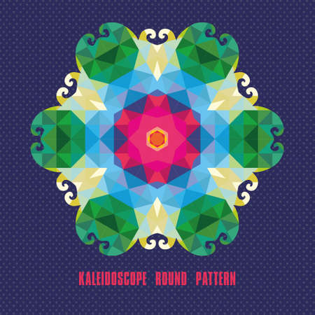 Kaleidoscope geometric dark round pattern. Abstract background Vector