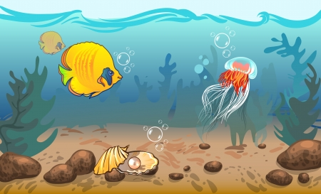illustration  underwater world with marine animals   Vector