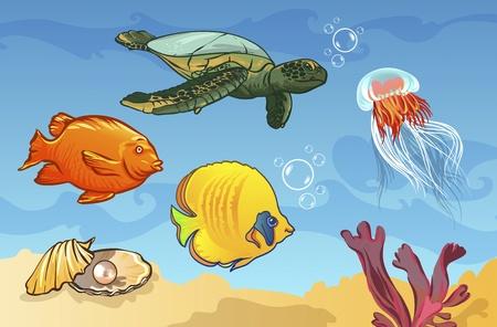 underwater world with marine animals. fish, shell, jellyfish Vector