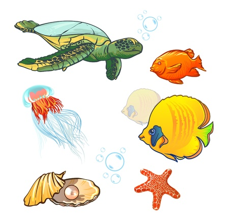 underwater world with marine animals. fish, shell, jellyfish Vector