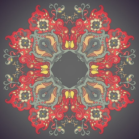 Ornamental floral lace pattern  kaleidoscopic floral pattern  Vector