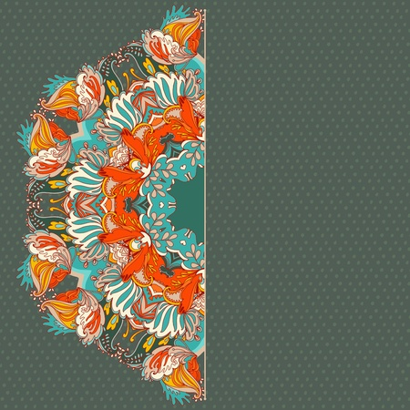 Ornamental floral lace pattern. kaleidoscopic floral pattern. greeting card Vector