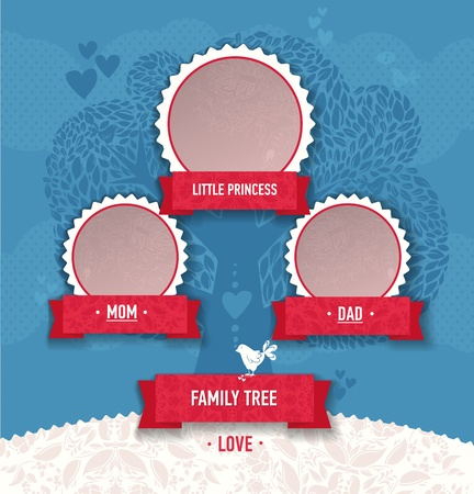 vector template for a family tree. Use a template to create a family album. Tree frame, ribbon, ornaments, hearts, birds Vector