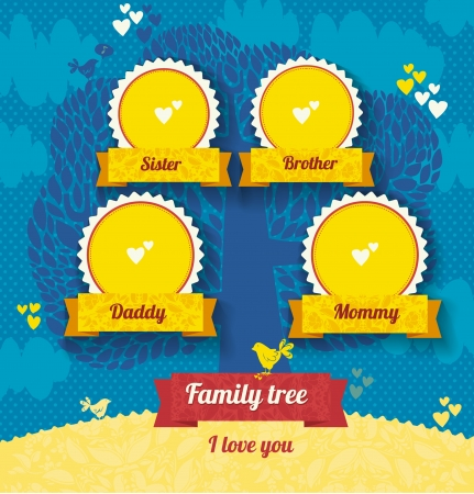 mather: vector template for a family tree. Use a template to create a family album. Tree frame, ribbon, ornaments, hearts, birds