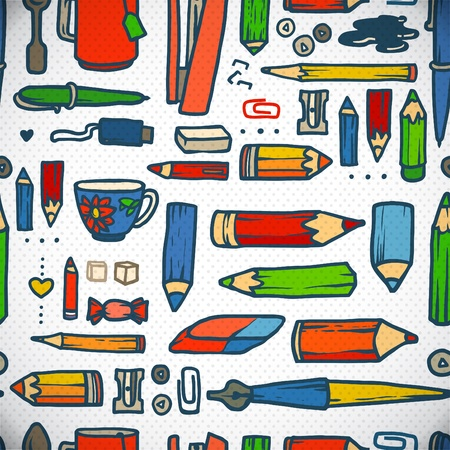 Hand-drawn stationery collection. Vector illustration. Vector