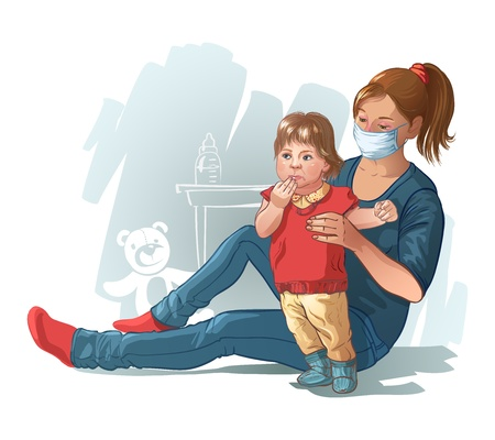 tongue: Mom and baby are sick viral infection  Vector illustration for design