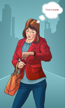 Young business woman in the city center looking at the clock  girl dressed fashionably  Vector