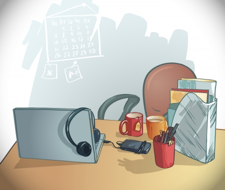 office working mesto  illustration  table, chair, laptop, mugs, folders, pens and pencils Vector