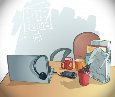 pupitre: oficina de mesa de trabajo mesto ejemplo, una silla, un ordenador portátil, tazas, carpetas, bolígrafos y lápices Vectores