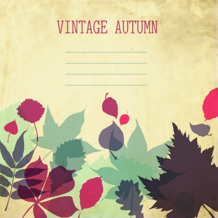 paper autumn leaves background in retro colors   Illustration