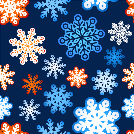 Snowflake winter blue background, christmas paper pattern. greeting card and space for text Vector