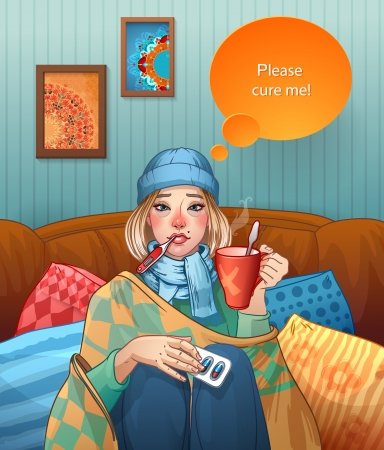 cold compress: Young girl, suffering from quinsy, or flu or any other virus cold. Illustration