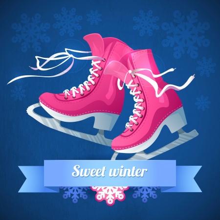 Retro Christmas card with ice skates Vector