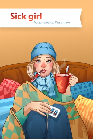 compress: Young girl, suffering from quinsy, or flu or any other virus cold. Illustration