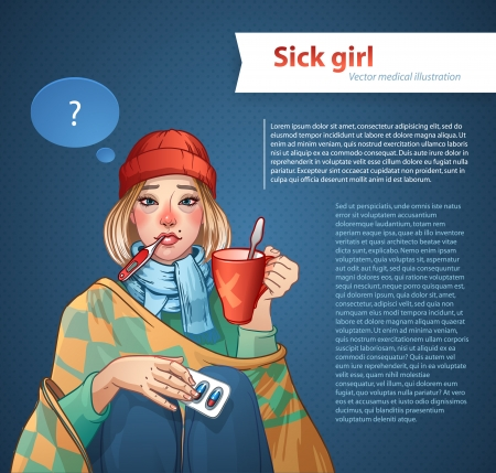 cold virus: Young girl, suffering from quinsy, or flu or any other virus cold. Illustration