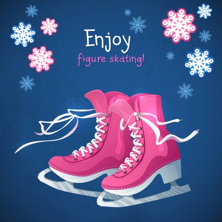 Retro Christmas card with ice skates. Blue grunge winter background with snow flakes and skate boots.