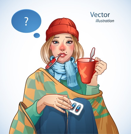 Young girl, suffering from quinsy, or flu or any other virus cold. Vector