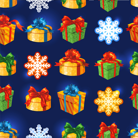 Vector gift boxseamless pattern with bows and ribbons. Snowflakes and stars Vector
