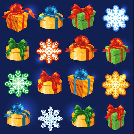 Vector gift box set with bows and ribbons. Snowflakes and stars Vector