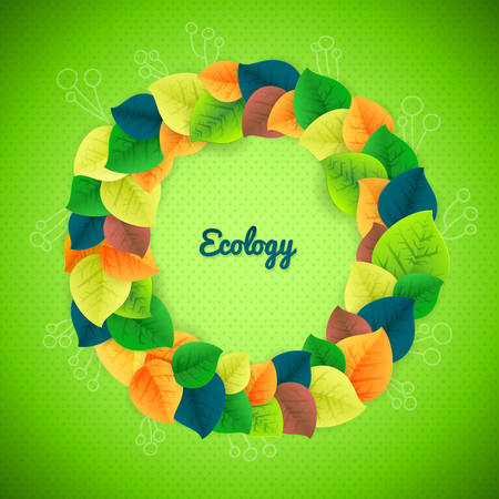 Vector banner leaf design with flowers and place for text  fresh wreath background  Beautiful wreath made from freshness green leaves  Transparent objects used for shadows and lights drawing   Vector