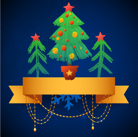 lent: Christmas illustration with simple Christmas trees in the snow  Thin gold festive garland above the forest  vector illustration for greeting your family and friends