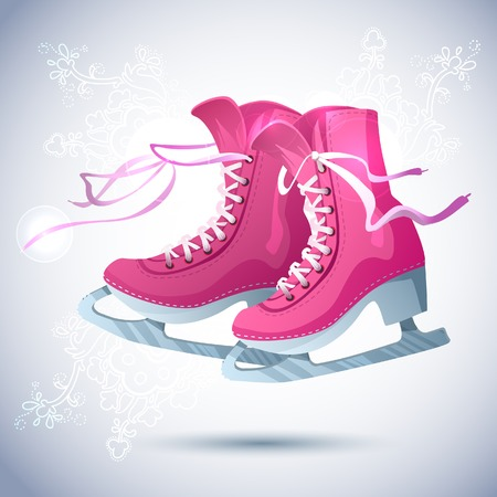 Retro Christmas card with ice skates Vector