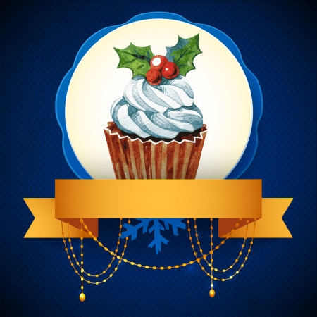 Cupcake with holly berry  Vector Watercolor illustration  Traditional yummy Christmas dessert Stock Vector - 24025961
