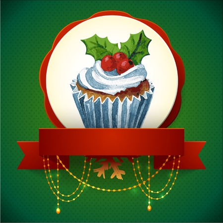 Cupcake with holly berry  Vector Watercolor illustration  Traditional yummy Christmas dessert  Vector