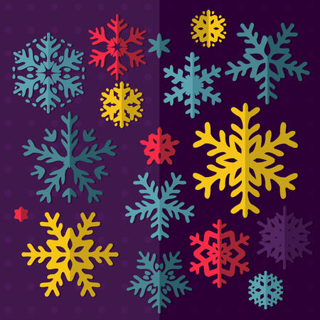 Set of snowflakes in vector. Vector set of simple bright snowflakes. Decorative vector Snowflakes set - winter series clip-art Vector