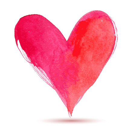 dessin coeur: Bonne Saint Valentin Aquarelle coeur peint, élément de vecteur pour votre belle illustration de vecteur de conception de votre carte ou affiche Illustration