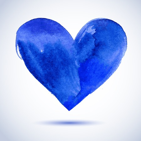 Watercolor blue painted heart, vector element for your design Vector