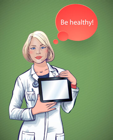 young doctor: beautiful young doctor with a computer tablet in hands  medical applications for your health