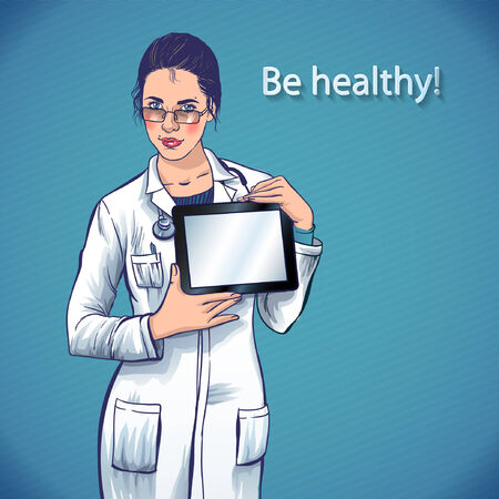 doctor tablet: beautiful young doctor with a computer tablet in hands  medical applications for your health