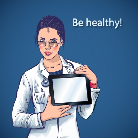 Doctor with tablet computer in her hands  medical apps for your health Vector