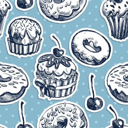 Seamless texture sweets, donut, biscuit on the background of polka dots Vector