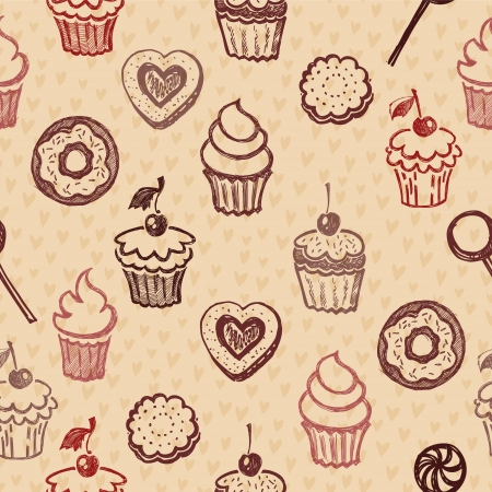 Seamless texture sweets, donut, biscuit on the background of polka dots Ilustração