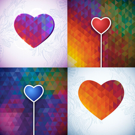 Kaleidoscope geometric patterns and hearts pack. Vector