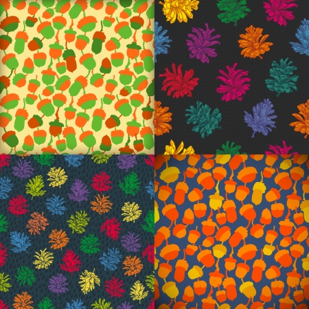 acorn nut patterns. rain drop patterns. Template for design ecology fabric, covers, backgrounds, package