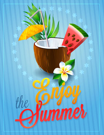 Travel colorful tropical design. coconut cocktail with umbrella and watermelon. summer background Vector