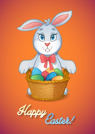 Easter bunny rabbit with basket full of eggs Vector