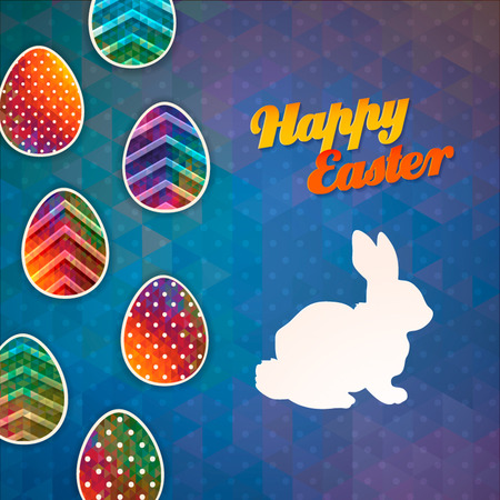 Happy Easter  Easter bunny greeting card  Geometric triangle pattern eggs with shadow  Papercut Vector